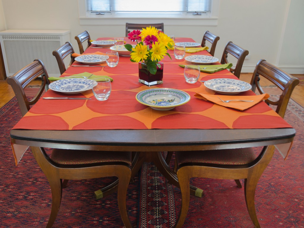 Fall Table Setting with Custom Table Pads