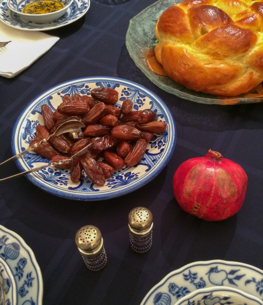 custom table pads - holiday foods - challah - dates - honey